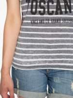 Szary t-shirt w paski z napisem FIRENZE TOSCANA                                  zdj.                                  6