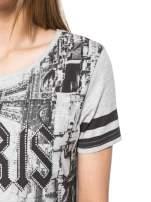 Szary t-shirt z motywem Paryża                                  zdj.                                  6