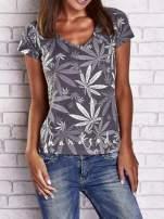Szary t-shirt z nadrukiem liści weed ganja                                  zdj.                                  1