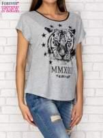 Szary t-shirt z nadrukiem tygrysa i zipem z tyłu                                  zdj.                                  3