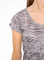Szary t-shirt z nadrukiem zebry z dżetami                                                                          zdj.                                                                         7