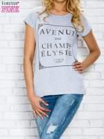 Szary t-shirt z napisem AVENUE THE CHAMPS ÉLYSÉE                                  zdj.                                  1