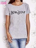 Szary t-shirt z napisem BONJOUR                                  zdj.                                  1