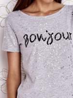 Szary t-shirt z napisem BONJOUR                                                                          zdj.                                                                         5