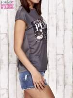 Szary t-shirt z napisem ELEGANCE                                                                          zdj.                                                                         3