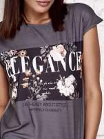 Szary t-shirt z napisem ELEGANCE                                                                          zdj.                                                                         5