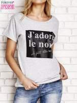 Szary t-shirt z napisem J'ADORE LE NOIR