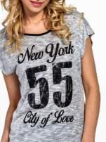 Szary t-shirt z napisem NEW YORK CITY OF LOVE 55                                                                          zdj.                                                                         4