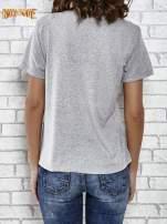 Szary t-shirt z napisem ROUTE NEW YORK                                  zdj.                                  4