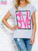 Szary t-shirt z napisem STYLE z dżetami                                  zdj.                                  1