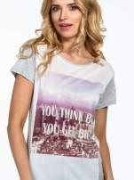 Szary t-shirt z napisem YOU THINK BIG YOU GET BIG                                  zdj.                                  5