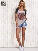 Szary t-shirt z różą efekt acid wash                                  zdj.                                  2