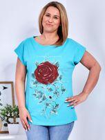 T-shirt morski z różą PLUS SIZE                                  zdj.                                  1