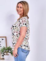 T-shirt beżowy w kolorowe kwiaty PLUS SIZE                                  zdj.                                  5