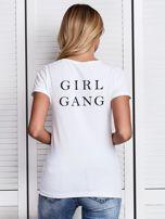 T-shirt biały z nadrukiem z tyłu GIRL GANG                                  zdj.                                  1