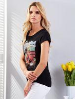 T-shirt czarny z motywem samochodu                                  zdj.                                  5