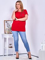 T-shirt czerwony z gwiazdą z perełek PLUS SIZE                                  zdj.                                  4