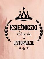 T-shirt damski KSIĘŻNICZKI z nadrukiem korony łososiowy                                  zdj.                                  2