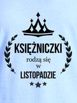 T-shirt damski KSIĘŻNICZKI z nadrukiem korony niebieski                                  zdj.                                  2