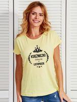 T-shirt damski KSIĘŻNICZKI z nadrukiem korony żółty                                  zdj.                                  1