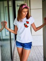 T-shirt damski biały z naszywkami KWIATY                                  zdj.                                  1