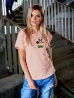 T-shirt damski brzoskwiniowy z naszywkami MISFITS                                  zdj.                                  1