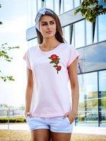 T-shirt damski jasnoróżowy z naszywką DUŻY KWIAT                                  zdj.                                  1