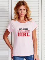 T-shirt damski patriotyczny 100% ORIGINAL POLISH GIRL jasnoróżowy                                  zdj.                                  1