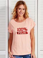 T-shirt damski patriotyczny 100% POLKI łososiowy                                  zdj.                                  1