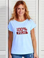 T-shirt damski patriotyczny 100% POLKI niebieski                                  zdj.                                  1