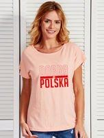T-shirt damski patriotyczny DOBRA BO POLSKA łososiowy