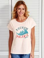 T-shirt damski patriotyczny KOCHAM POLSKIE MORZE ecru                                  zdj.                                  1
