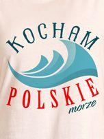 T-shirt damski patriotyczny KOCHAM POLSKIE MORZE ecru                                  zdj.                                  2