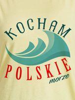 T-shirt damski patriotyczny KOCHAM POLSKIE MORZE żółty                                  zdj.                                  2