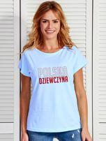 T-shirt damski patriotyczny POLSKA DZIEWCZYNA niebieski                                  zdj.                                  1