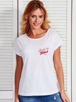 T-shirt damski patriotyczny z delikatnym nadrukiem biały                                  zdj.                                  1