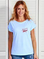 T-shirt damski patriotyczny z delikatnym nadrukiem niebieski                                  zdj.                                  1