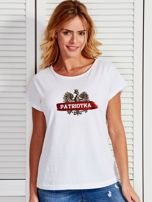 T-shirt damski patriotyczny z nadrukiem Orła Białego biały                                  zdj.                                  1