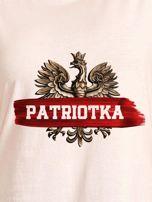 T-shirt damski patriotyczny z nadrukiem Orła Białego ecru                                  zdj.                                  2