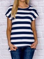 T-shirt damski w pasy granatowy                                  zdj.                                  1