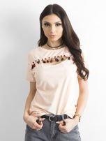 T-shirt damski z kolorowymi pomponikami jasnoróżowy                                  zdj.                                  1