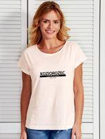 T-shirt damski z nadrukiem znaku zodiaku KOZIOROŻEC ecru                                  zdj.                                  1