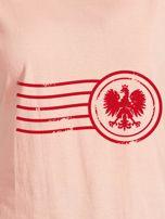 T-shirt damski z patriotycznym nadrukiem łososiowy                                  zdj.                                  2
