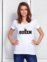 T-shirt dla zakochanych biały QUEEN                                   zdj.                                  1