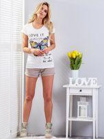 T-shirt ecru z motylem                                  zdj.                                  4