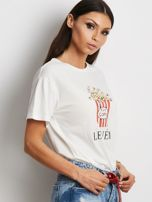 T-shirt ecru z popcornem                                  zdj.                                  2