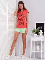 T-shirt koralowy SHOPPING IS MY CARDIO                                  zdj.                                  4