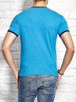 T-shirt męski z tekstowym nadrukiem morski                                  zdj.                                  2
