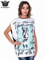 T-shirt o kimonowym kroju z nadrukiem w stylu fashion                                  zdj.                                  1