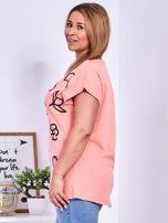 T-shirt różowy z nadrukiem PLUS SIZE                                  zdj.                                  5